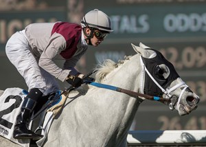 Calculator is undefeated in three starts sprinting down the hillside course at Santa Anita Park