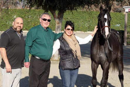 Buyers of Hip 159, Hector Perez and Gene Zondlo, and bloodstock agent Amanda Navarro, with Hip 159, Barretts January Mixed Sale, Fairplex at Pomonoa, 1.17.2018.