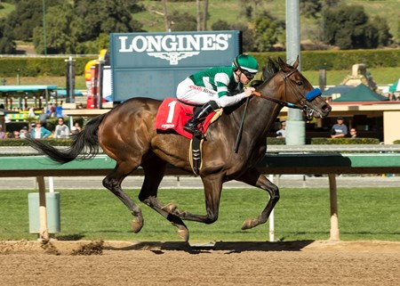 Hronis Racing's Edwards Going Left and jockey Tyler Baze win the $150,000 Donald Valpredo California Cup Sprint, Saturday, January 27, 2018 at Santa Anita Park, Arcadia CA.
