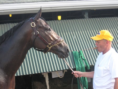 Trainer Gary Stute with Papa Clem.
