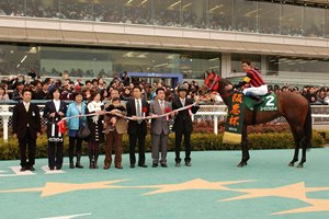 A Shin Forward after winning the 2010 Hankyu Hai at Hanshin Racecourse