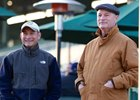 Hall of Famers Alex Solis (left) and Richard Mandella watching over training Jan. 19 at Santa Anita Park