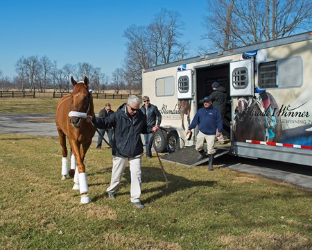 Gun Runner arrives at Three Chimneys Farm and is lead by stallion manager Sandy Hatfield Jan. 28, 2018 Three Chimneys Farm in Versailles, Kentucky.