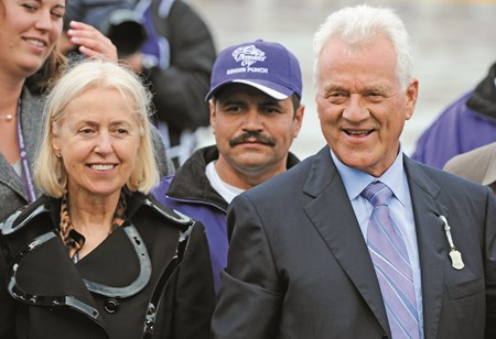 As a result of finishing 2007 as the leading breeder by earnings for the fifth consecutive year, Frank Stronach's (right) Adena Springs was voted the outstanding breeder of the year for a record fifth time.