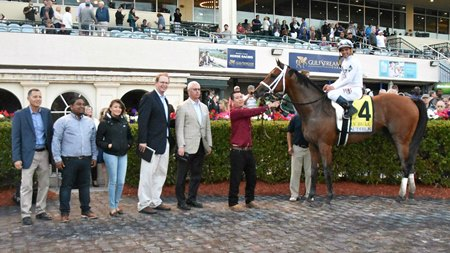 Audible in the winner's circle with his connections after scoring in the Holy Bull Stakes at Gulfstream Park