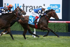 Brave Smash wins the Futurity Stakes at Caulfield Racecourse