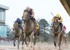 Streamline turns back Terra Promessa (inside) and Torrent (outside) to take the Bayakoa Stakes at Oaklawn Park