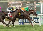 Om holds off Bowies Hero and Next Shares to win the Thunder Road Stakes at Santa Anita Park