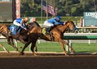 Selcourt holds on for the victory by three quarters of a length in the Las Flores Stakes at Santa Anita