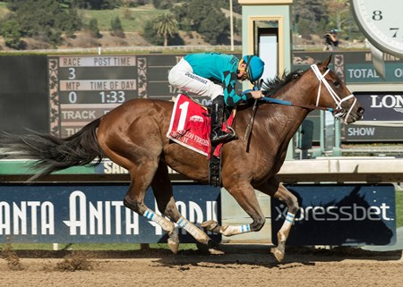 Roy H and jockey Kent Desormeaux win the G2, $200,000 Palos Verdes Stakes, Saturday, February 3, 2018 at Santa Anita Park, Arcadia CA.