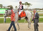 World Approval, John Velazquez, and Mark Casse after the Tampa Bay Stakes