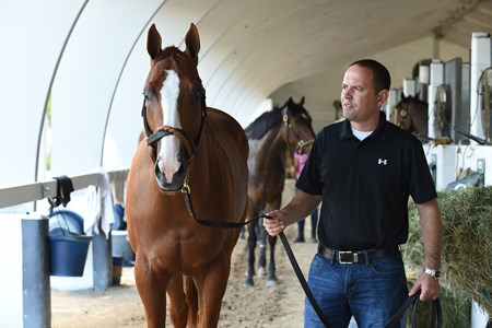 Trainer Chad Brown and 2017 champion juvenile colt Good Magic