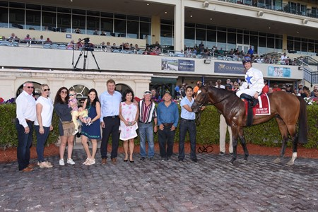 Heart to Heart wins the 2018 Gulfstream Park Turf Stakes