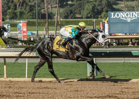 Lombo and jockey Flavien Prat win the G3, $150,000 Robert B. Lewis Stakes, Saturday, February 3, 2018 at Santa Anita Park, Arcadia CA.