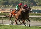 Itsinthepost (inside) holds off Hayabusa One in the San Marcos Stakes at Santa Anita Park