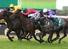 Daysee Doom (Green cap) wins the 2018 Millie Fox Stakes ridden by Andrew Adkins and trained by Ron Quinton