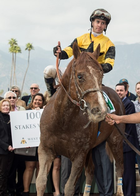 West Point Thoroughbreds' Kanthaka and jockey Flavien Prat win the Grade II, $200,000 San Vicente Stakes, Saturday, February 10, 2018 at Santa Anita Park, Arcadia CA.
