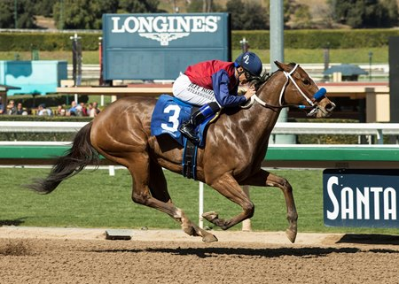 Miss Sunset led all the way to gain a 2 1/2-length victory in the Spring Fever at Santa Anita Park