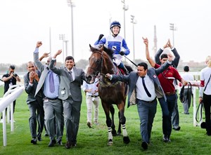 The Blue Eye returns from his second Emir's Trophy win at Al Rayyan Racecourse