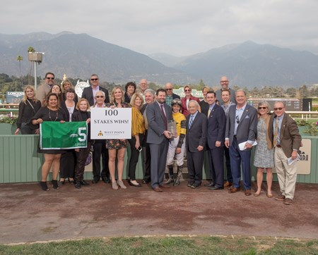 West Point Thoroughbreds' Kanthaka and jockey Flavien Prat win the G2, $200,000 San Vicente Stakes, Saturday, February 10, 2018 at Santa Anita Park, Arcadia CA.