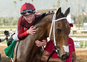 Itsinthepost and jockey Tyler Baze after their victory in the Feb. 3 San Marcos Stakes