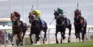 Time Warp (left) sets a course record of 1:59.97, the first sub-two-minute finish at the distance at Sha Tin