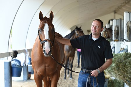 Trainer Chad Brown with 2017 champion juvenile colt Good Magic