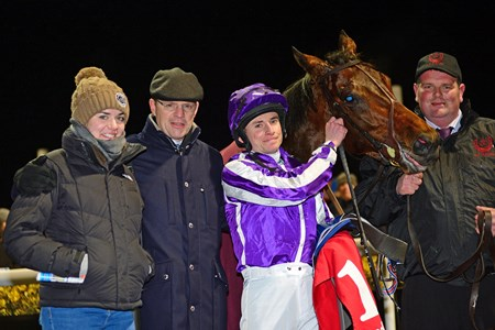 Mendelssohn and Ryan Moore win the 2018 Patton Stakes at Dundalk for trainer Aidan O'Brien with daughter Ana and groom David Hickey