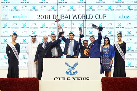 Mind Your Biscuits wins the 2018 Dubai Golden Shaheen