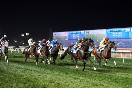 Big Time wins the Jebel Ali Free Zone Handicap at the eighth Racing At Meydan Meeting, March 03rd, 2018