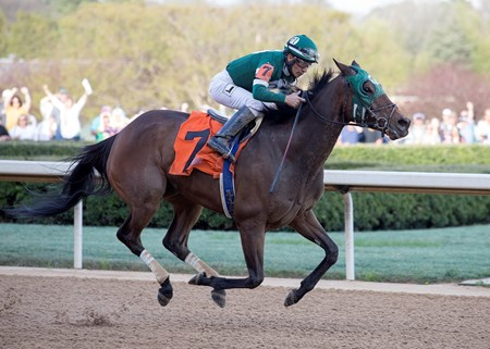 Martini Glass and Paco Lopez winning the Azeri at Oaklawn Park on March 17, 2018.