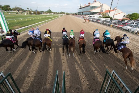 The start of the Twinspires.com Louisiana Derby at Fairgrounds Race Course on March 24, 2018.