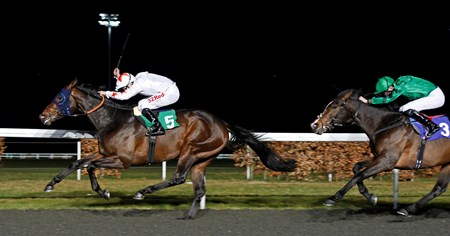 Gronkowski (Jamie Spencer) beats Court House (right) in The Road To The Kentucky Derby Conditions Stakes Kempton 7 Mar 2018