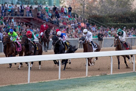 The start of the Essex Handicap at Oaklawn Park on 3-17-18.