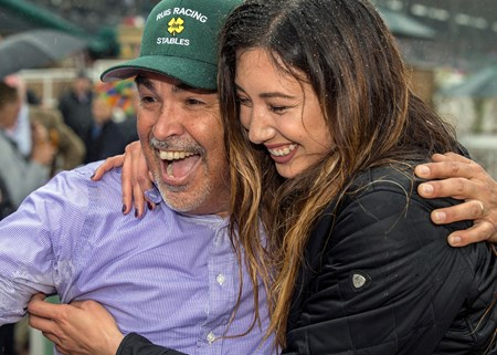 Owner/trainer Mick Ruis and daughter Shelbe celebrate after Bolt d'Oro's victory in the G2 $400,000 San Felipe Stakes Saturday, March 10, 2018 at Santa Anita Park, Arcadia, CA.
