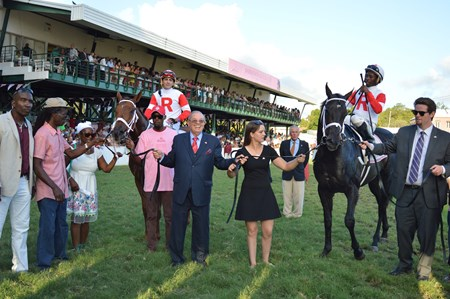 Sir Dudley Digges (right) and Shining Copper finish 1-2 in the 2018 Barbados Gold Cup