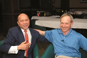 Former jockeys Steve Cauthen and Jorge Velasquez discuss the 30 year anniversary of the Triple Crown rivalry between Affirmed and Alydar in a room at Turfway Park in Florence, Ky. on April 8, 2008