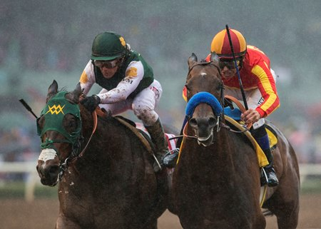 Bolt d'Oro (outside) and McKinzie (inside) battle down to the wire in the San Felipe Stakes at Santa Anita Park