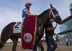 Noble Indy is led to the winner's circle wearing the Louisiana Derby garland at Fair Grounds Race Course