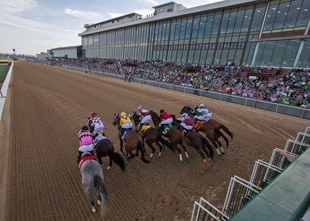 The field leaving the starting gate in the Azeri at Oaklawn Park on March 17, 2018.