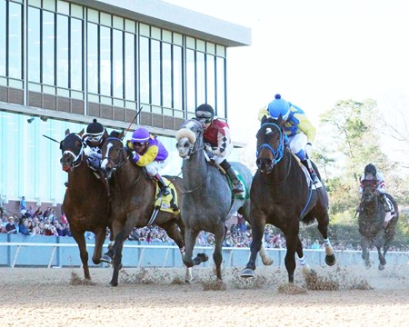 J. E.'s Handmedown wins the 2018 Nodouble Breeders' Stakes