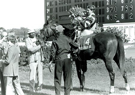 Ronnie Franklin aboard Spectacular Bid after 1979 Kentucky Derby