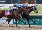 Lone Sailor (outside) is edged by Noble Indy in the Louisiana Derby