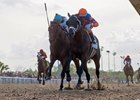 Noble Indy (inside) fights off Lone Sailor to capture the Louisiana Derby at Fair Grounds Race Course
