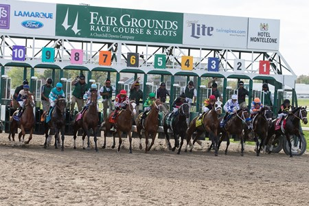 The field leaving the starting gate in the Twinspires.com Louisiana Derby at Fairgrounds Race Course on March 24, 2018.