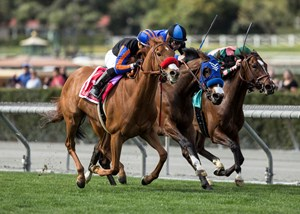 Madam Dancealot (outside) passes Midnight Crossing (middle) and Sassy Little Lila late to win the Santa Ana Stakes