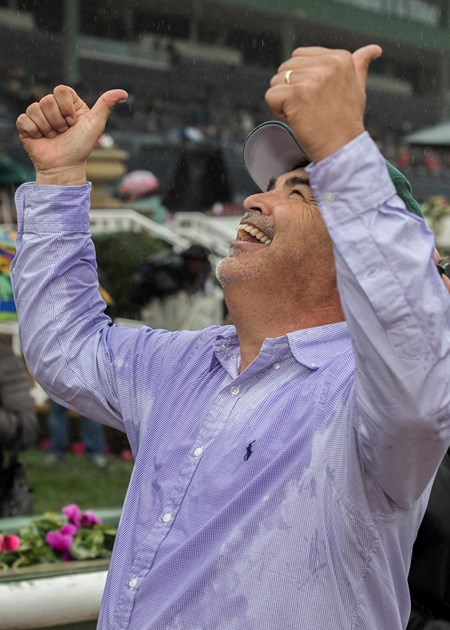 Owner/trainer Mick Ruis celebrates after Bolt d'Oro, with Javier Castellano up, won the the G2 $400,000 San Felipe Stakes Saturday, March 10, 2018 at Santa Anita Park, Arcadia, CA.