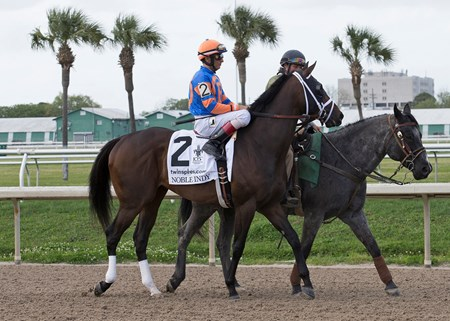 Noble Indy and John Velazquez in the post parade for the Twinspires.com Louisiana Derby at Fairgrounds Race Course on March 24, 2018.