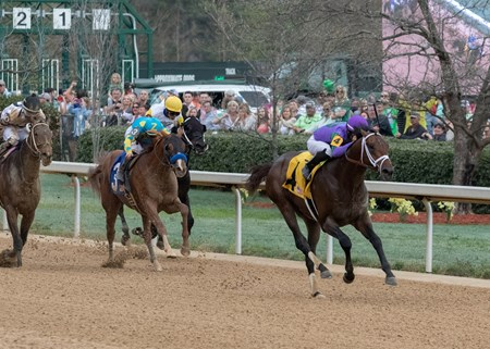 Magnum Moon winning The Rebel Stakes at Oaklawn Racing on March 17, 2018, jockey Luis Saez up