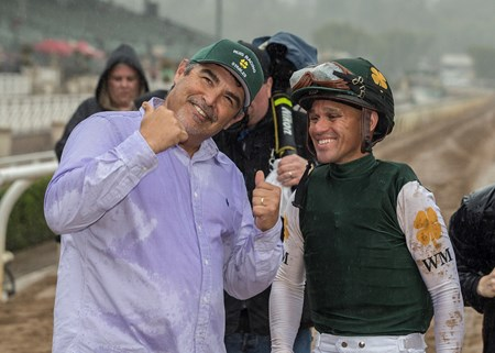 Owner/trainer Mick Ruis and jockey Javier Castellano celebrate after Bolt d'Oro's victory in the G2 $400,000 San Felipe Stakes Saturday, March 10, 2018 at Santa Anita Park, Arcadia, CA.